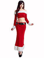 Santa Suits Festival/Holiday Halloween Costumes Red / White Solid Top / Skirt / Belt Christmas Terylene