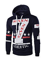 Men's Spring Winter Casual Daily Vintage Color Stitching Star Digital Printing Long Sleeve Cotton Hooded Sweater