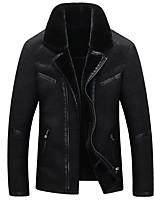 Мужчины Большие размеры Однотонный Кожаные куртки V-образный вырез,Винтаж Осень / Зима Черный / Коричневый Длинный рукав,Искусственный