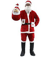 Christmas Costume/Holiday Halloween Costumes Red Solid Top / Pants / Belt / Hats / Boots / Scarf Christmas Male Pleuche