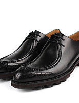 Черный / Коричневый-Мужской-На каждый день-КожаУдобная обувь-Туфли на шнуровке