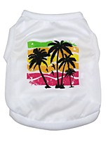 Beauty Cool New Design Spring Summer Lovely Coconut Trees Cotton Single Jersey Vests Pet Clothing
