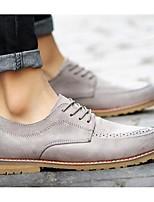 Черный / Коричневый / Серый-Мужской-На каждый день-МикроволокноУдобная обувь-Туфли на шнуровке
