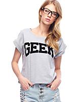 Women's Print Black / Gray T-shirt,Round Neck Short Sleeve