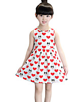 Girl's Casual/Daily Print DressCotton Summer Red