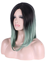 Charming Black Mixed Light Green Color Fashionable Femal Synthetic Wigs