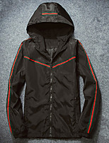 Men's Casual/Daily Street chic Jackets,Striped Hooded Long Sleeve Fall Black Polyester Medium