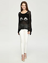 Women's Casual/Daily Simple Regular PulloverPrint White / Black Round Neck Long Sleeve Cashmere Fall / Winter