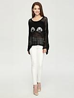 Damen Standard Pullover-Lässig/Alltäglich Einfach Druck Weiß Schwarz Rundhalsausschnitt Langarm Kaschmir Herbst Winter Mittel