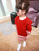 Girl's Casual/Daily Striped Overall & Jumpsuit / Clothing SetCotton Winter / Fall Red / Gray