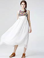Women's Plus Size / Going out / Holiday Boho Chiffon Dress,Embroidered Round Neck Maxi Sleeveless White Polyester Summer Mid Rise