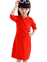 Girl's Casual/Daily Solid Dress,Cotton Summer Red