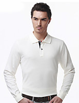 SEVEN Men's Casual/Daily Simple Fall T-shirtSolid Shirt Collar Long Sleeve White Cotton Medium
