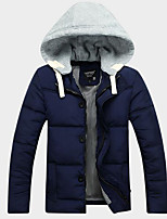Men's Long Padded Coat,Simple Casual/Daily Solid-Polyester Polyester Long Sleeve Blue / Red / Black