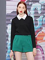 Tee-shirt Femme,Couleur Pleine Sortie Vintage Printemps / Automne Manches Longues Col de Chemise Noir / Jaune Polyester Moyen
