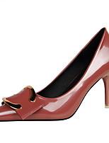 Damen-High Heels-Kleid-Kunstleder-Stöckelabsatz-Komfort-Schwarz / Braun / Lila / Rot / Silber / Beige