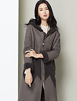 Xuebao Women's Casual/Daily Vintage Fur CoatColor Block Hooded Long Sleeve Winter Gray Others Medium