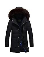 Пальто Простое Обычная Пуховик Мужчины,Однотонный На каждый день Полиэстер Пух белой утки,Длинный рукав Синий / Черный