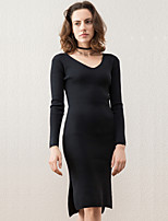 Women's Going out Sexy Sweater Dress,Solid V Neck Above Knee Long Sleeve Black Polyester Winter High Rise Micro-elastic Medium