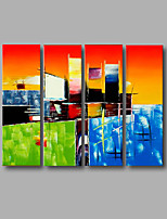 Stretched (Ready to hang) Hand-Painted Oil Painting 120cmx90cm Canvas Wall Art Modern Orange Blue