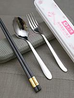 Нержавеющая сталь 304 Столовая вилка / палочки для еды Ложки / Вилки / Chopstick 3 шт.