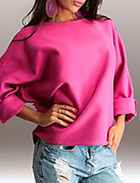 Women's Casual/Daily Simple Sweatshirt Solid Round Neck Stretchy Cotton Long Sleeve Fall Winter