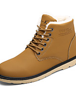 Men's Boots Winter Comfort / Combat Boots PU Outdoor / Casual Low Heel Lace-up Black / Blue / Khaki Walking / Others