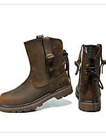 Boty-Kůže-Módní boty-Dámské-Hnědá-Běžné-Plochá podrážka
