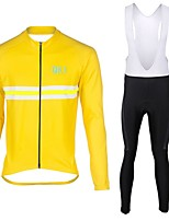 QKI yellow Cycling Jersey with Bib long Tights Long Sleeve Bike Breathable / Quick Dry / Anatomic Design / Front Zipper / 3D coolmax gel pad
