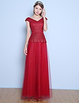 Formal Evening Dress A-line V-neck Floor-length Lace / Satin / Tulle with Bow(s) / Sash / Ribbon