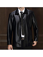 Men's Casual/Daily Simple Jackets,Solid Long Sleeve Winter Black / Brown Polyester Medium