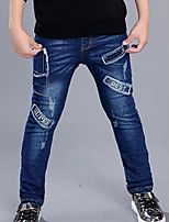 Boy's Casual/Daily Print Jeans,Cotton Winter Blue