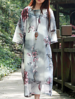 Женский На каждый день Шинуазери (китайский стиль) Свободный силуэт Платье Цветочный принт,Круглый вырез Средней длины Рукав ¾ Серый