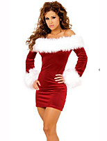 Santa Suits Festival/Holiday Halloween Costumes Red / White Solid Dress Christmas Terylene