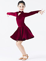 Latin Dance Dresses Performance Spandex / Polyester / Velvet Buttons 1 Piece Long Sleeve Natural Dress
