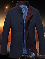 Men's Casual/Daily Simple Trench Coat,Solid Long Sleeve Fall / Winter Blue / Gray Wool Medium