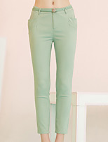 I'HAPPY  Women's Solid Green Skinny PantsSimple Spring / Summer