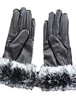 теплый утолщение кролик мех действительно Pipi перчатки (черный и белый)