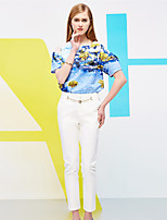 I'HAPPY Women's Solid White Slim PantsSimple Spring / Fall