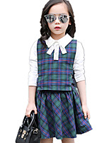 Girl's British Style Plaid Hollow Clothing Set (White Shirt & Plaid Vest & Big Swing Skirt)