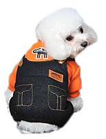 Dog Clothes/Jumpsuit Orange / Yellow / Rose Dog Clothes Winter / Spring/Fall Jeans Cute / Fashion