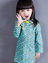 Girl's Casual/Daily Floral Dress / Overall & JumpsuitCotton Spring / Fall Blue / Green