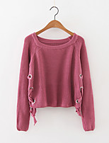Women's Lace up Going out Simple Regular Pullover,Solid Round Neck Long Sleeve Cashmere Polyester Fall Medium Micro-elastic