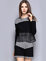 Women's Casual/Daily Street chic Pant Suits,Color Block Round Neck Long Sleeve Black Polyester