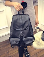 Casual Backpack Women PU Black