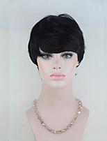 6inch Fashion Short Rihanna Style Brazilian Virgin Remy Hair Capless Short None Lace Wigs
