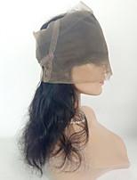 360 frontal Ondulation naturelle Cheveux humains Fermeture Brun roux Dentelle Suisse 90g gramme Moyenne Cap Taille