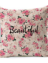 Polyester Decorative Cushion Pillow Cover Print Flower Word Sofa Home Decor 45x45cm
