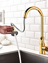 Modern Pull-out/Pull-down Centerset Pullout Spray with  Ceramic Valve Single Handle One Hole for  Ti-PVD  Kitchen faucet