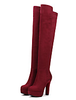 Women's Boots Spring / Fall / Winter Fashion Boots Leatherette/ Casual Chunky Heel Others Black / Burgundy